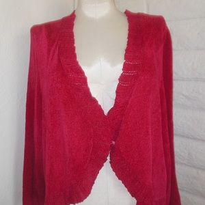 Catherines 3X Red Chenille 3/4-Slv Sweater Shrug